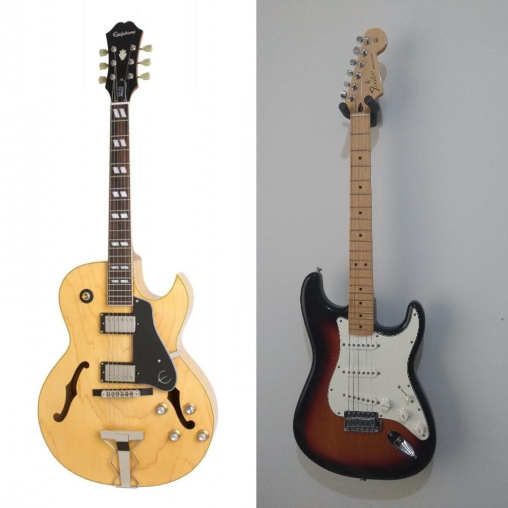 guitarra elétrica e guitarra acústica